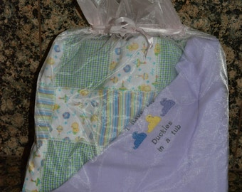 Handcrafted Flannel baby blanket with Bib Set