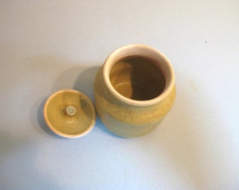 Vintage Yellow Pottery Mustard Dish with M marking on side