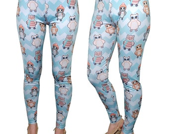 Owl Leggings Teal Owls in Hats Nerd Owl Print Leggings In Stock & MTO Sz Xs-5XL