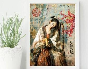 Asian girld -Asian, China, Japan, color, Ancient, Home deco, elegant- ref.02