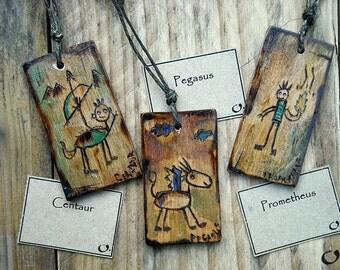 Centaur;Pegasus;Prometheus-handmade wooden pendants,wooden necklace,wooden pendant,mythology pendant,funny pendant,pyrography,wooden jewelry