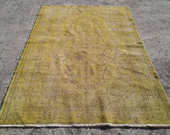 Big sale %50 off Vintage overdyed rug,cotton and wool rug,tribal overdyed rug  5,1x8,1 feet