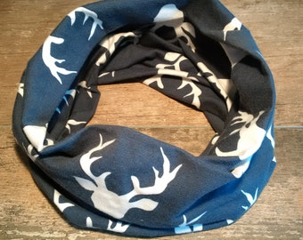 Infinity scarf, neck warmer, stretch, fall, snaps, baby, child, adult, deer, deer, Navy, cotton jersey, spandex