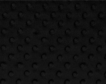 Minky Dimple Dot Fabric By The Yard - Black (W1)
