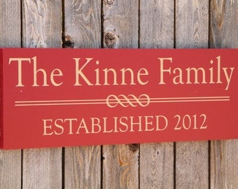 Family Name Sign with Est. Date, Engraved, Family Name, Sign, Established, Wedding Gift, Housewarming Gift, Bridal Gift, Carved, Plaque