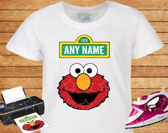 Any Name on T-shirt Elmo. Iron on Transfer, Instant Download, Elmo Sesame Street on T-shirt. Personalized T-shirt.