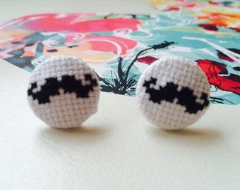 Cross Stitch Moustache Earrings - Stud Earrings