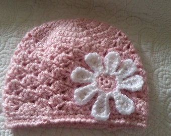 baby girl hat with daisy flower