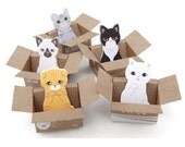 Adorable cat sticky notes and/or bookmarks in mini cardboard box