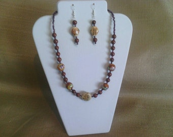 256 Hand Painted Porcelain Beads and Brown Clay Beads Beaded Choker