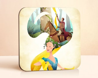 Rapunzel Coaster | Princess Coaster | Fairy Tale Coaster | Gift for Her | Wood Coasters | Teen Girl Gift | Gift for kids | Drink Coasters