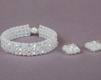 Christmas Gift Bridal Swarovski Bicone Beaded Bracelet & Earrings Jewelry Set, Crystal Swarovski Wedding Jewelry Set, White Crystal Set,