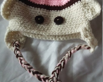Crocheted Baby Sock Monkey Hat 0-3 months