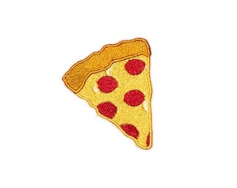 Pepperoni Pizza Patch Iron On Embroidered Patches Applique Embroidery • Emoji Food Tasty Cheese Cute