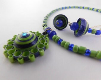 Eco-Friendly Paper Quilled Jewerly Set with Earrings and Necklace; Blue, Green