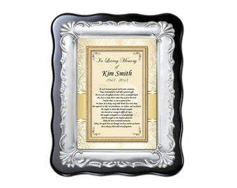 Memorial Sympathy Plaque Personalized Remembrance Bereavement Condolences Poem for Loss of Loved One