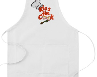 "Embroidered ""Kiss The Cook"" apron"