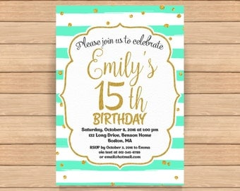 15th birthday invitation, Fifteenth birthday invitation, Gold glitter confetti, Mint birthday, Teen birthday invitation, ANY AGE - 1564