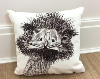 """You looking at me! 9""""x9"""" Ostrich cushion, scatter cushion, gift, wedding, fun, animal."""