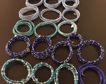 Blue Bracelets Various Shades and Sizes