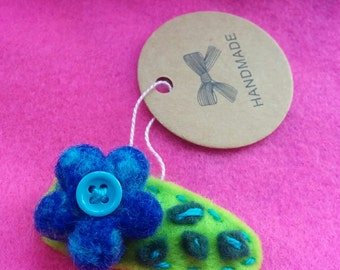 Handmade multicolour felt girl hair clip with Needle felted merino wool flower