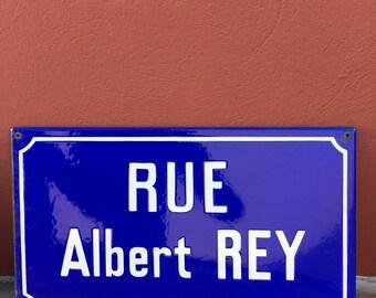 Old French Street Enameled Sign Plaque - vintage rey