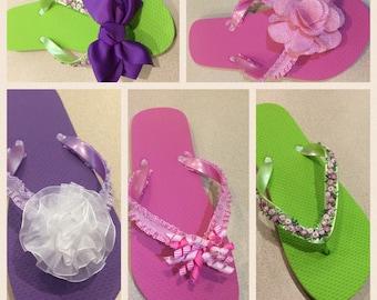 Flip flops, women flip flop, unique flip flop, decorated flip flop, embellished flip flop, flower flip flop, bow flip flop