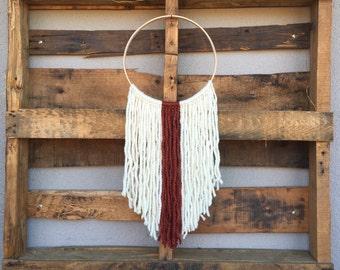 yarn wall hanging on hoop