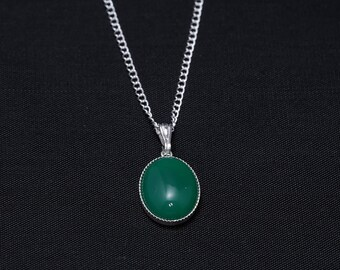 Sterling Silver Necklace with 14x10 Green onyx Gemstone