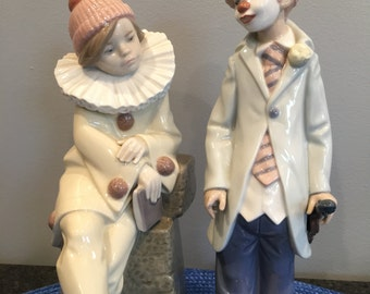 Lladro Spanish Porcelain Figurine #5203 LITTLE JESTER Clown Girl & #5472 Circus Sam