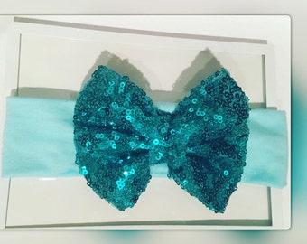 Turquoise sequin headband bow