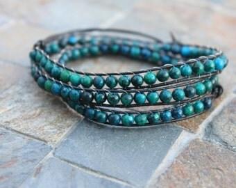 Dark teal triple wide bracelet