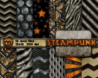 steampunk digital paper, steampunk background, steampunk scrapbook