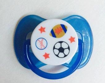 Blue Baseball Football Soccer SPORTS REBORN Boy's Doll Non - Magnet Putty PACIFIER Paci