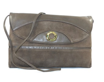 Brown suede and leather envelope-pe026/003P