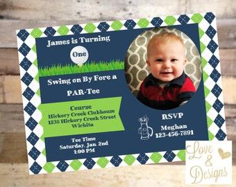 Blue & Green Golf Theme Invitation