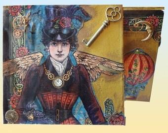 Steampunk decorated medium sized box