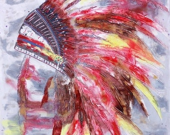 SALE 40% DISCOUNT!!! Indian Headdress Mixed Media Canvas Wall Hanging 121cm x 91cm
