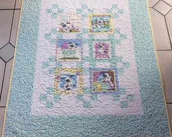 Baby Boy Blue Sheep Quilt.Patchwork Quilt.Handmade.Home Decor.Animal Quilt.Floor Quilt.Baby Shower.Nursery.Sheep Quilt.