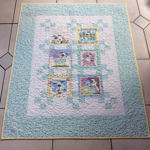 Baby boy blue sheep quilt patchwork quilt handmade home for Floor quilt for babies