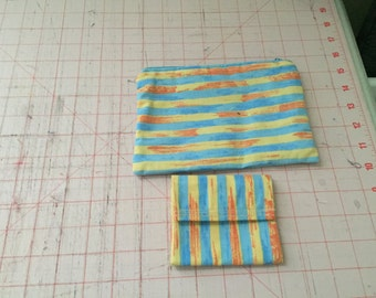 Striped coin pouch  & card holder