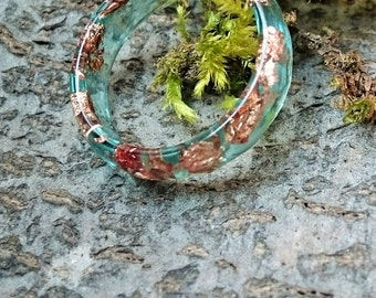 Resin - waterproof ring with copper flakes, ring size: 19 / 59 (72) - resin
