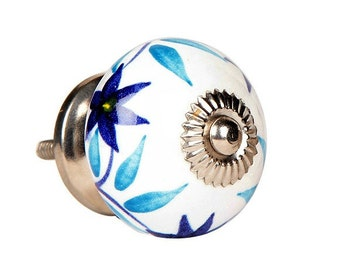 Ceramic Cabinet Knob with a Blue Floral Pattern