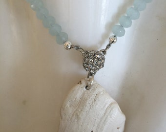Beaded Shell Pendant Necklace