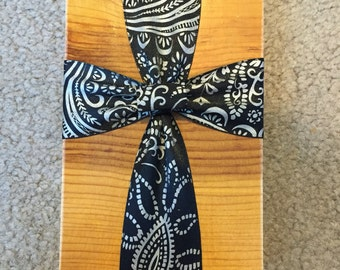 Whits And Black Wood Block Cross