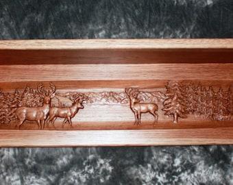 Carved Deer Scene Shelf