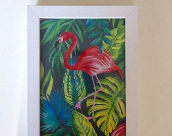Flamingo Palm Print
