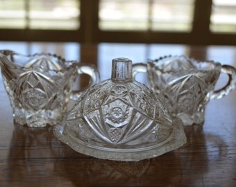 Antique Glass Sugar, Creamer and Butter Dish Set//Vintage Glass Kitchen Set