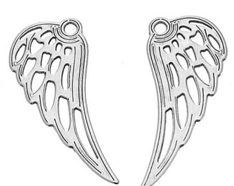 Sterling Silver Angel Wings Charm PK2 PK10