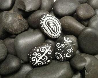 Set of 3 Original Hand Painted Black Rocks